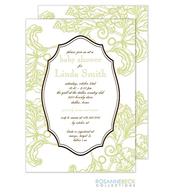Woodcut Floral Invitation - Lime