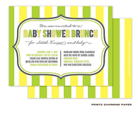 Yellow and Green Stripes Sweet Petite Invitation