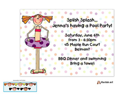 Girl Swimming Pool Party Invitation