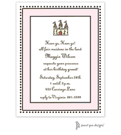 Antique Bead Border Pink & Chocolate Invitation - Castle