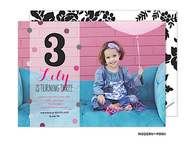 Baby Sparkle Monogram Digital Photo Invitation