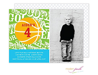 Basketball Green Party Digital Photo Invitation