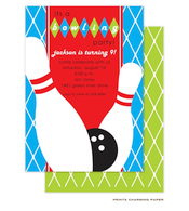 Blue Birthday Bowling Party Invitation