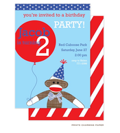Blue Sock Monkey Party Invitation