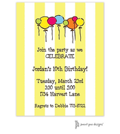 Balloons on Classic Stripes Citrine Invitation