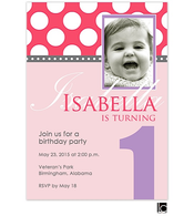 Pink and Purple Birthday Digital Photo Invitation