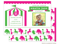 Pink Circus Birthday Digital Photo Invitation