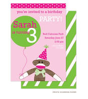 Pink Sock Monkey Party Invitation