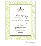 Swirls Lime Invitation - Princess Crown