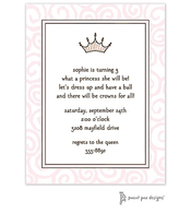 Swirls Pink Invitation - Princess Crown