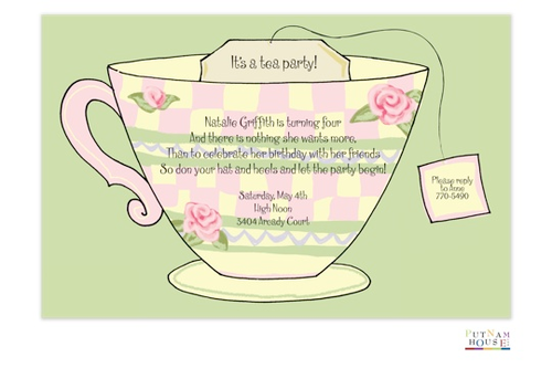 Teacup Invitation Party Cat