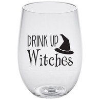 Drink Up Witches Lucite Stemless Wine Glass