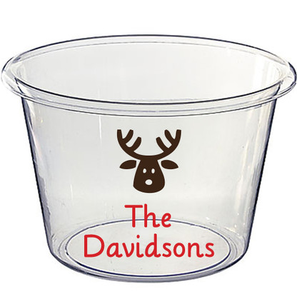 Personalized Lucite Christmas Beverage Bucket, Reindeer Motif + Lilly Font