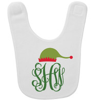 Personalized Elf Monogram Baby Bib - Vine Monogram