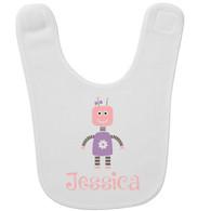 Personalized Robot Girl Baby Bib