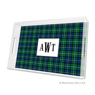 Black Watch Plaid Lucite Tray - Large