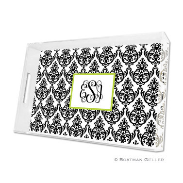 Madison Damask Black with White Holiday Lucite Tray - Large