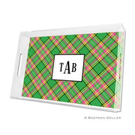 Preppy Plaid Holiday Lucite Tray - Large