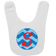 Personalized Chevron Blue Initial Baby Bib