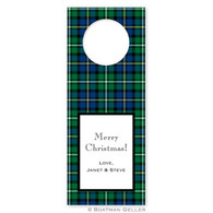 Personalized Black Watch Plaid Wine Tag