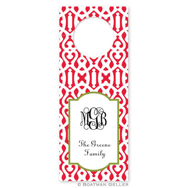 Personalized Cameron Red Holiday Wine Tag