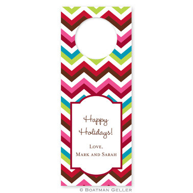 Personalized Chevron Holiday Wine Tag