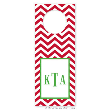 Personalized Chevron Red Holiday Wine Tag
