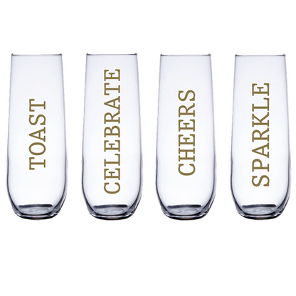 Personalized Party Champagne Flute Set, Metallic Gold Vinyl