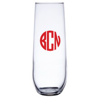 Personalized Stemless Champagne Flute, Circle Monogram, Red Vinyl