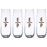 Personalized Stemless Champagne Flute Set, Market Deco Initials, Maroon Vinyl