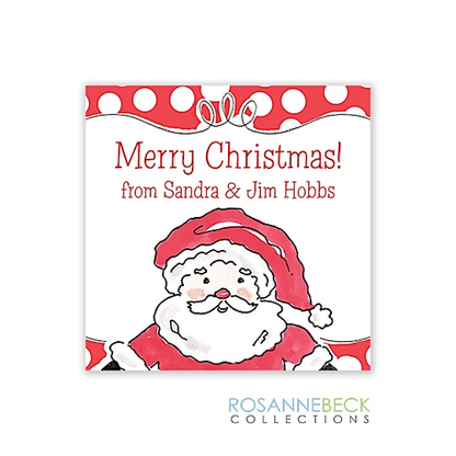 Happy Santa Holiday Gift Sticker
