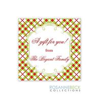 Holiday Plaid Gift Sticker