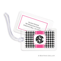 Alex Houndstooth Black Laminated Bag Tag