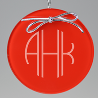 Terrace Monogram Circle Ornament - Red