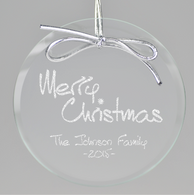Merry Christmas Circle Ornament - Clear