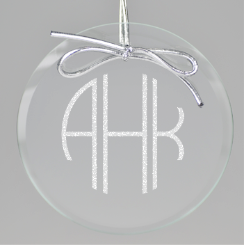 Terrace Monogram Circle Ornament - Clear
