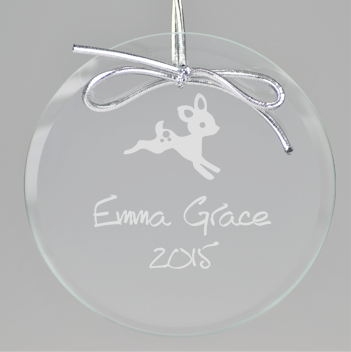 Baby Deer Circle Ornament - Clear