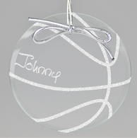 Basketball Circle Ornament - Clear