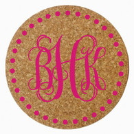 Personalized Monogram Cork Trivet - Vine, Hot Pink Heat Press
