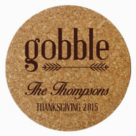 Personalized Thanksgiving Cork Trivet, Brown Heat Press