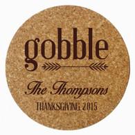 Personalized Thanksgiving Cork Trivet, Brown Heat Press