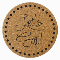 """Let's Eat!"" Cork Trivet, Black Heat Press"