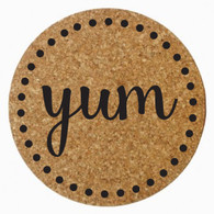 """Yum"" Cork Trivet, Black Heat Press"