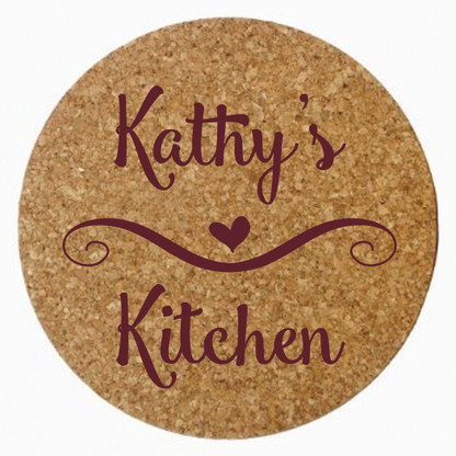 Personalized Kitchen Cork Trivet, Maroon Heat Press