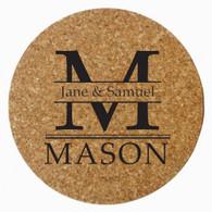 Personalized Mason Cork Trivet, Black Heat Press