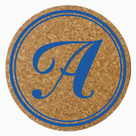 Personalized Single Initial Cork Trivet, Royal Blue Heat Press