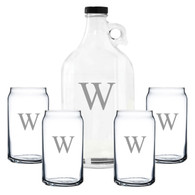 Personalized Growler and Beer Can Glasses Gift Set