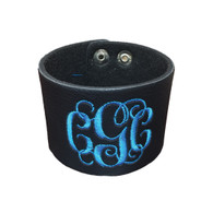 Personalized Black Leather Cuff