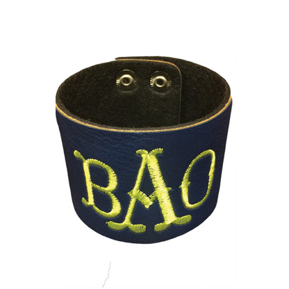 Personalized Navy Leather Cuff