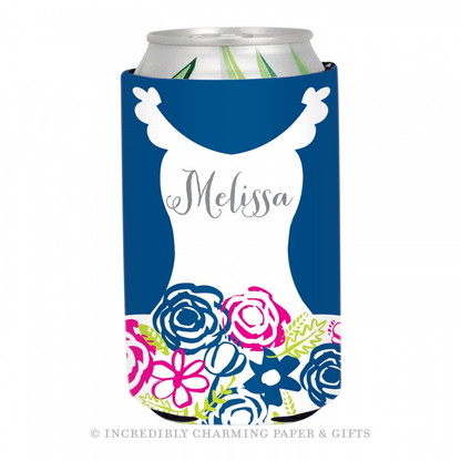 Personalized Formal Bride Koozie in Navy